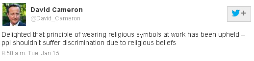 David Cameron religious symbols Twitter