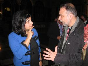 Rev. Nadim Nassar speaks to Baroness Warsi