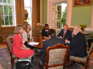 Open Doors youth advocate Antonia, presenting the petition to the Russian Ambassador in London